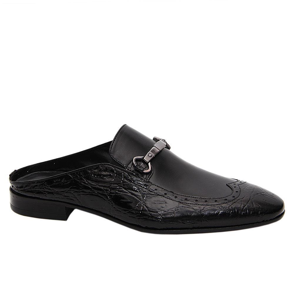 Black Rolando Italian Leather Half Shoe