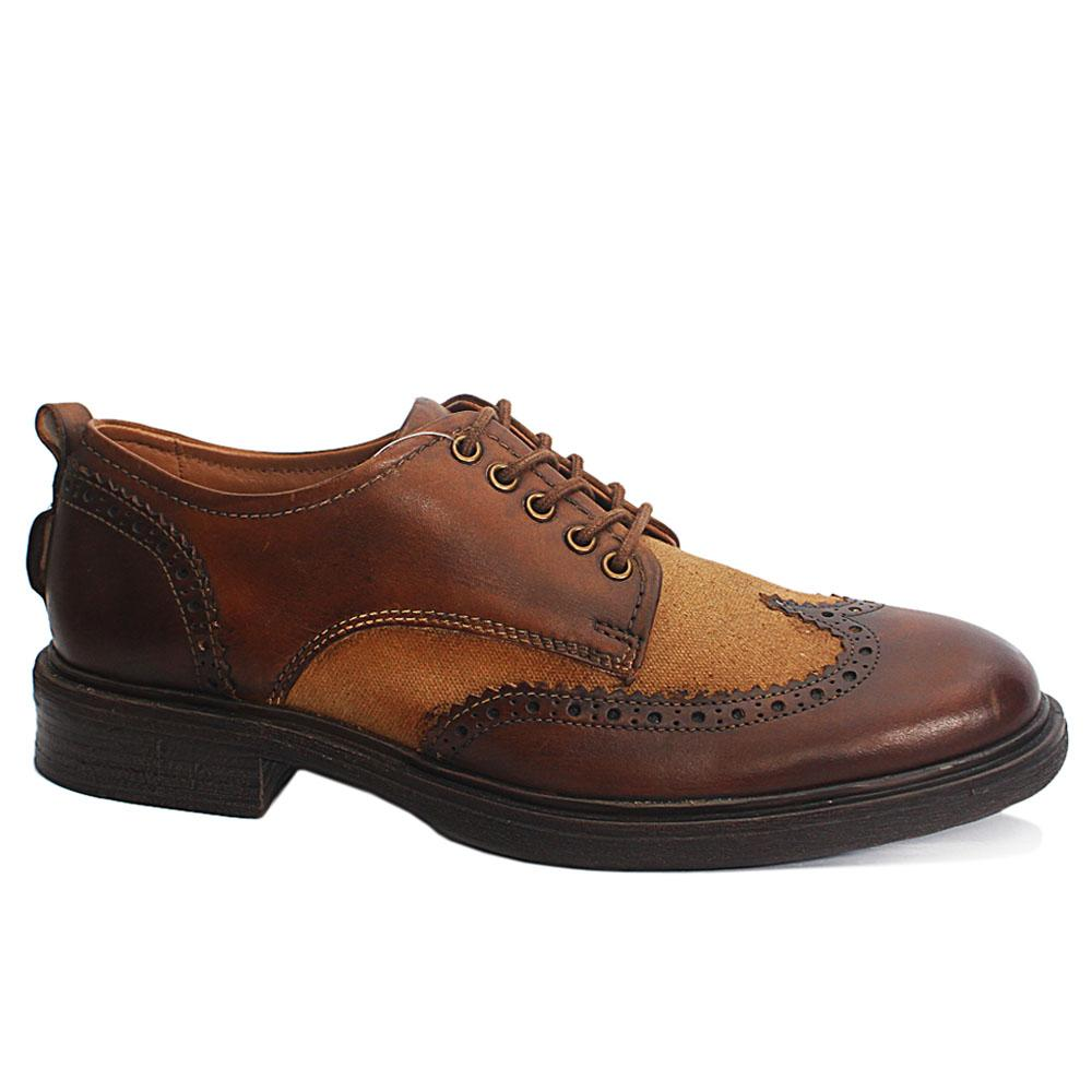 M&S Brown Fabric Leather Men Shoe