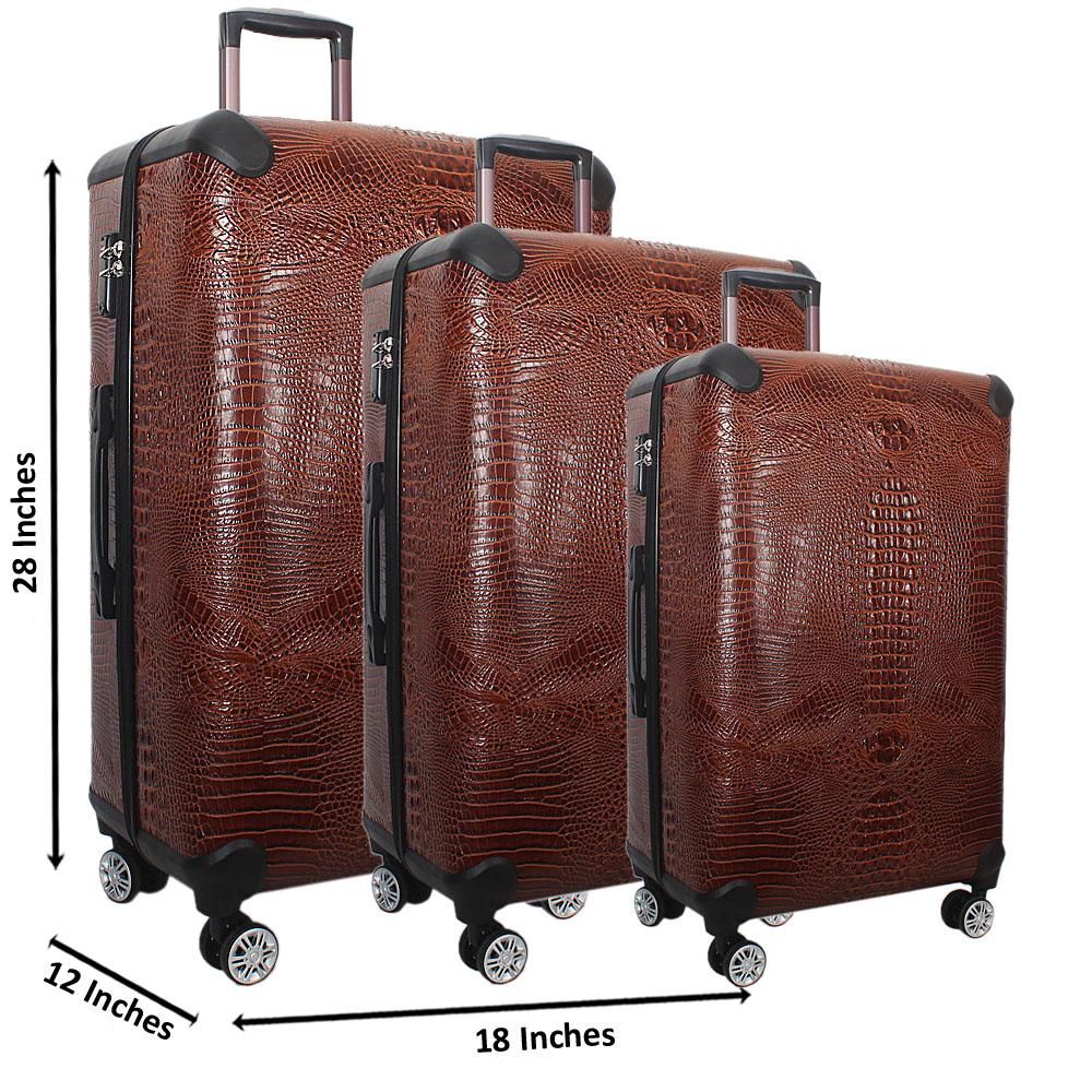 Brown 28 Wt 24 and 20 Inch 3 in 1 Croc Leather Luggage Set Wt TSA Lock