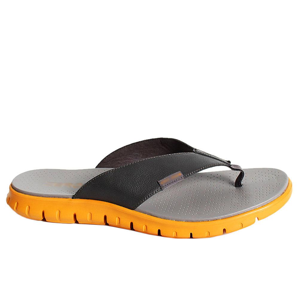 Zerogrand Gray Orange G Zero Leather Men Slippers