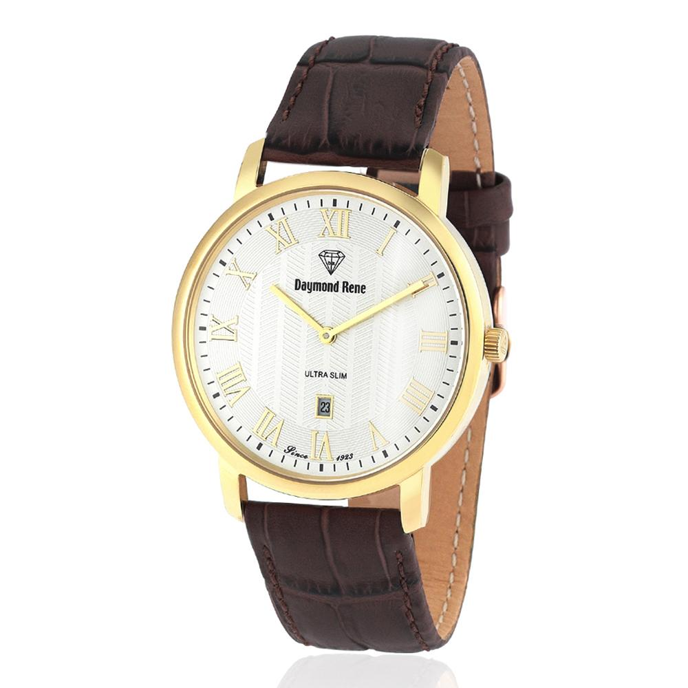 Brown Gold Leather Flat Watch