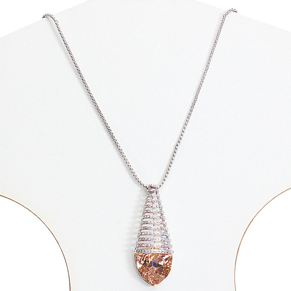 Long Stainless Steel Necklace with Swarovski Element Stone