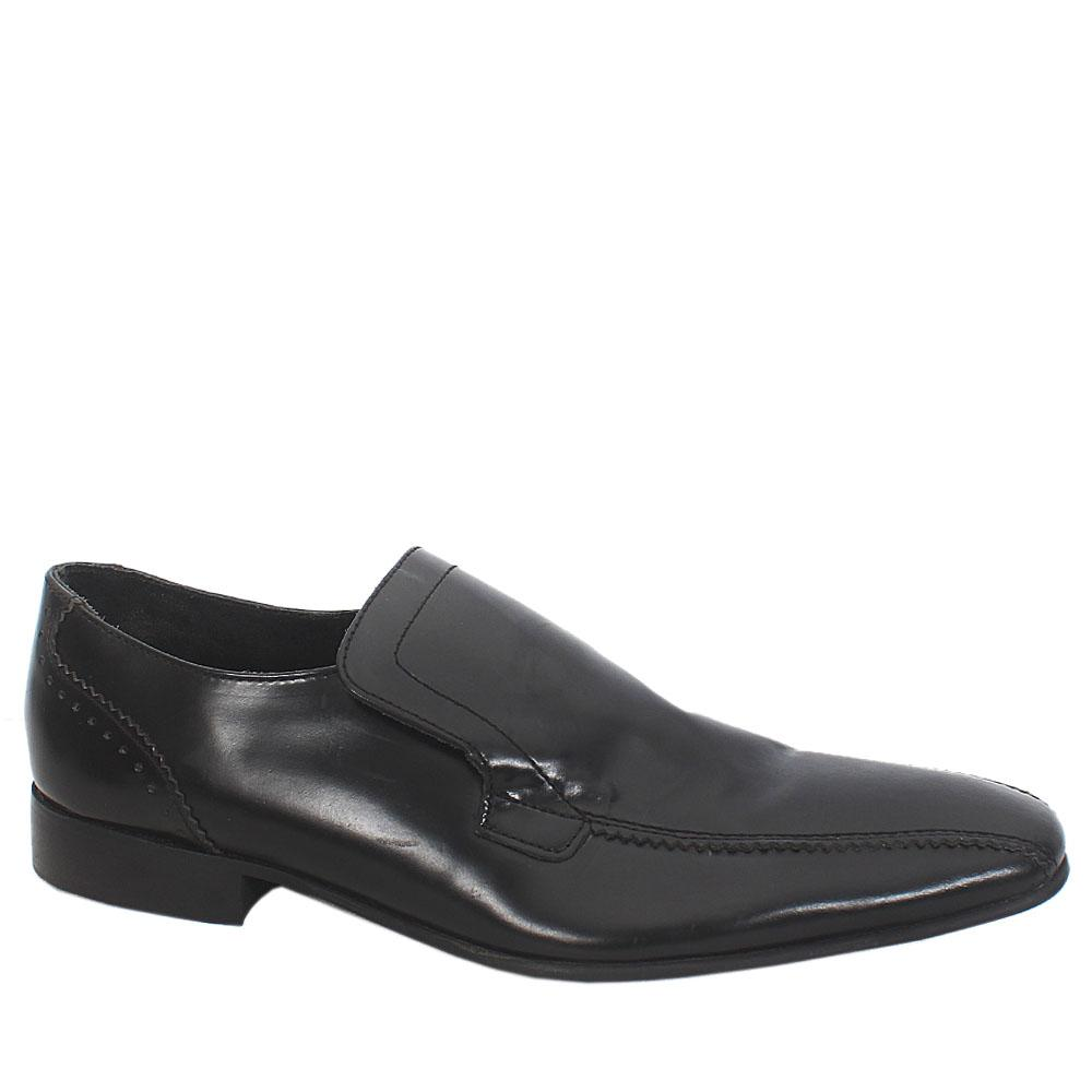 Autograph Black Leather Slip On Men Shoe Sz 43