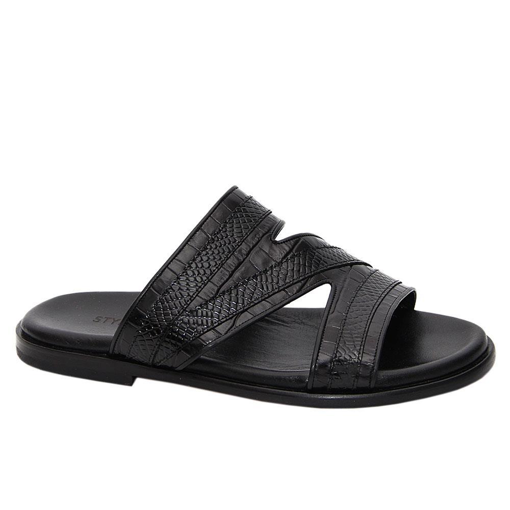 Black Ferruccio Italian Leather Slippers