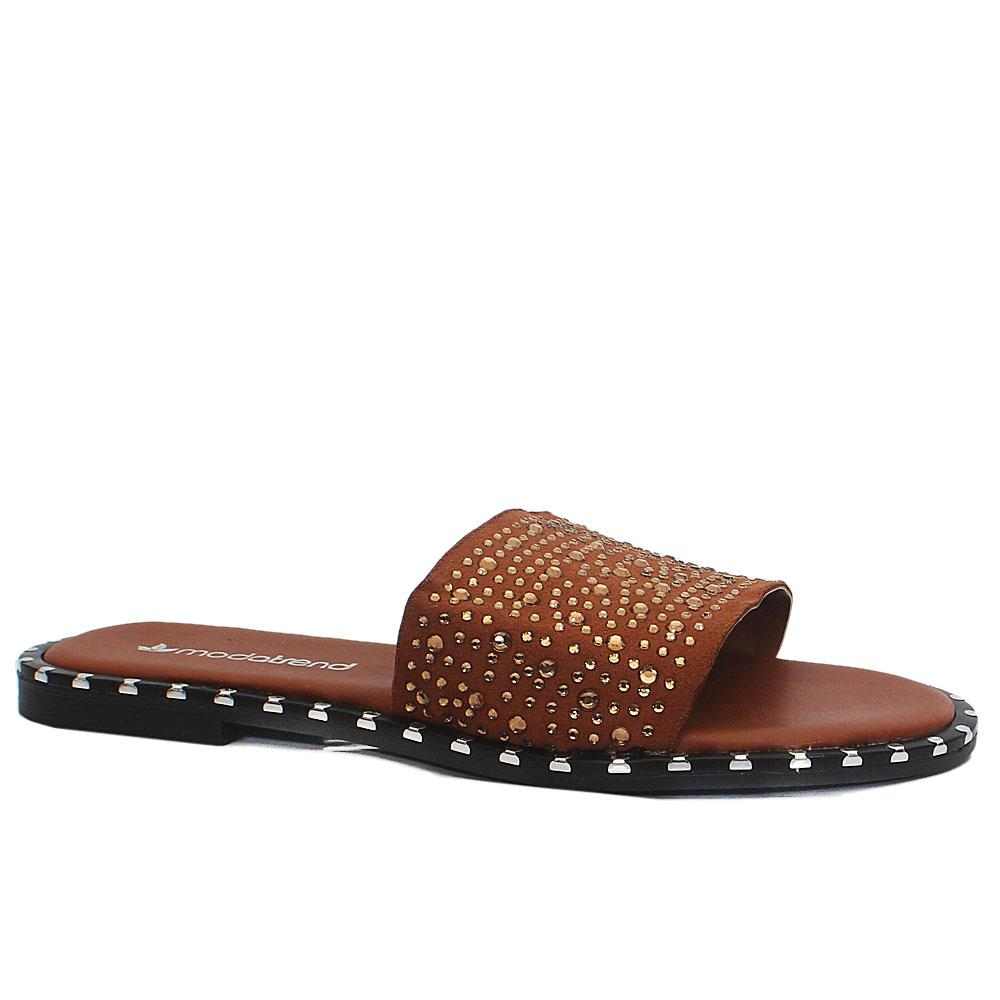 Brown Crystal Studded Leather Flat Slippers