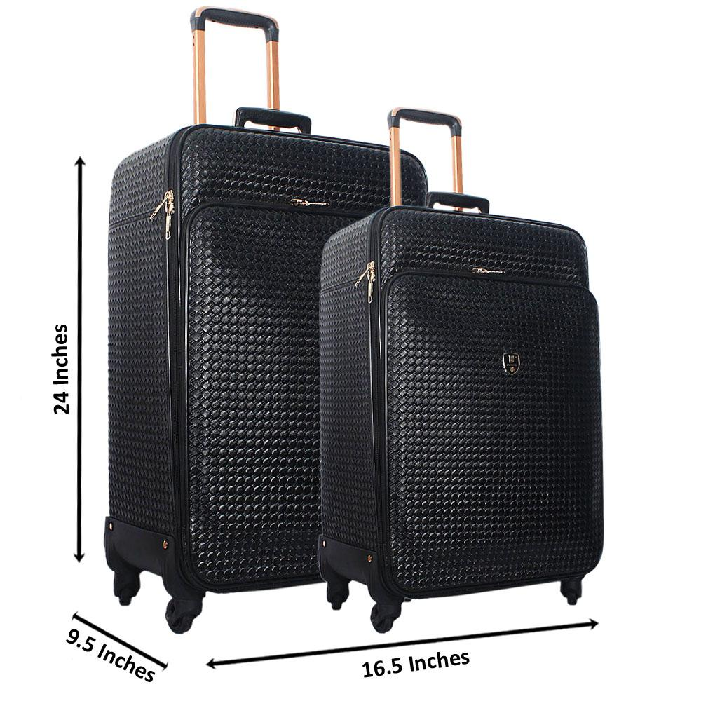 Black 24 Inch Wt 20 Inch 2 in 1 Woven Style Leather Luggage Set