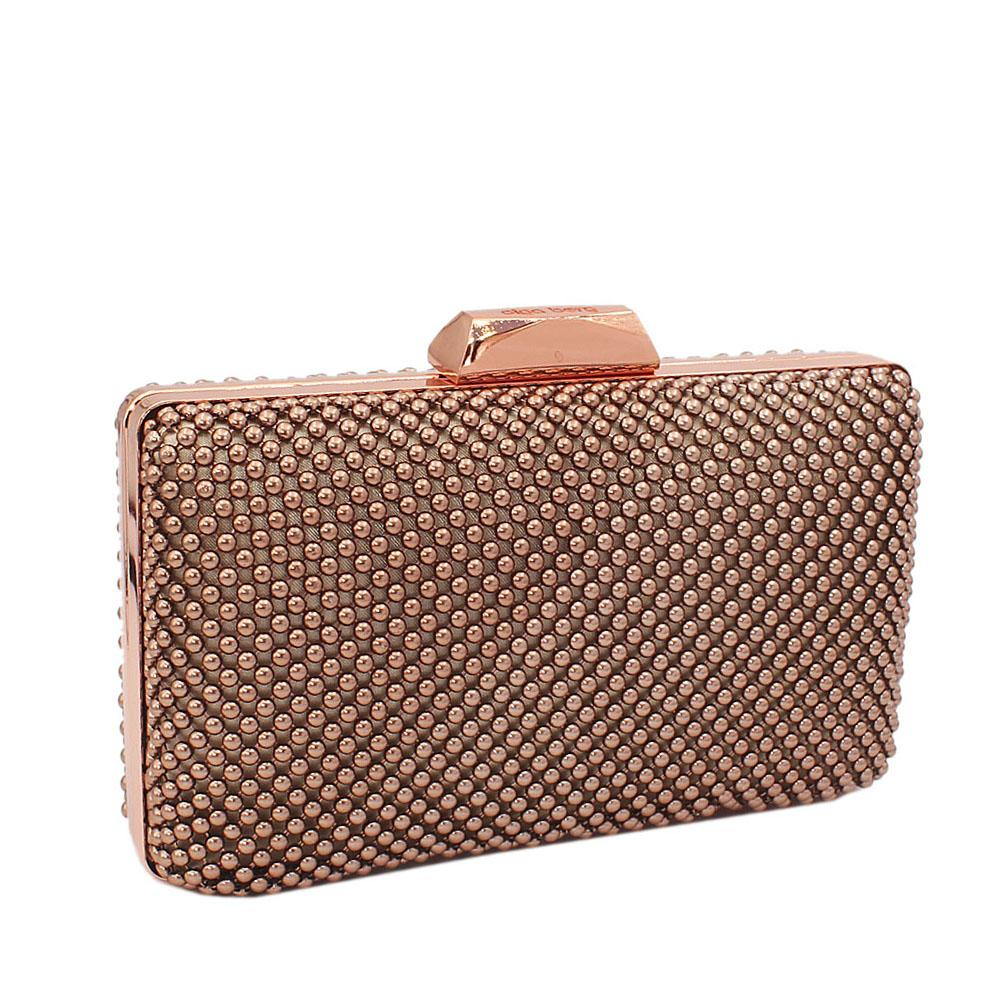 Rose Gold Titanium Mesh-Balls Clutch Purse