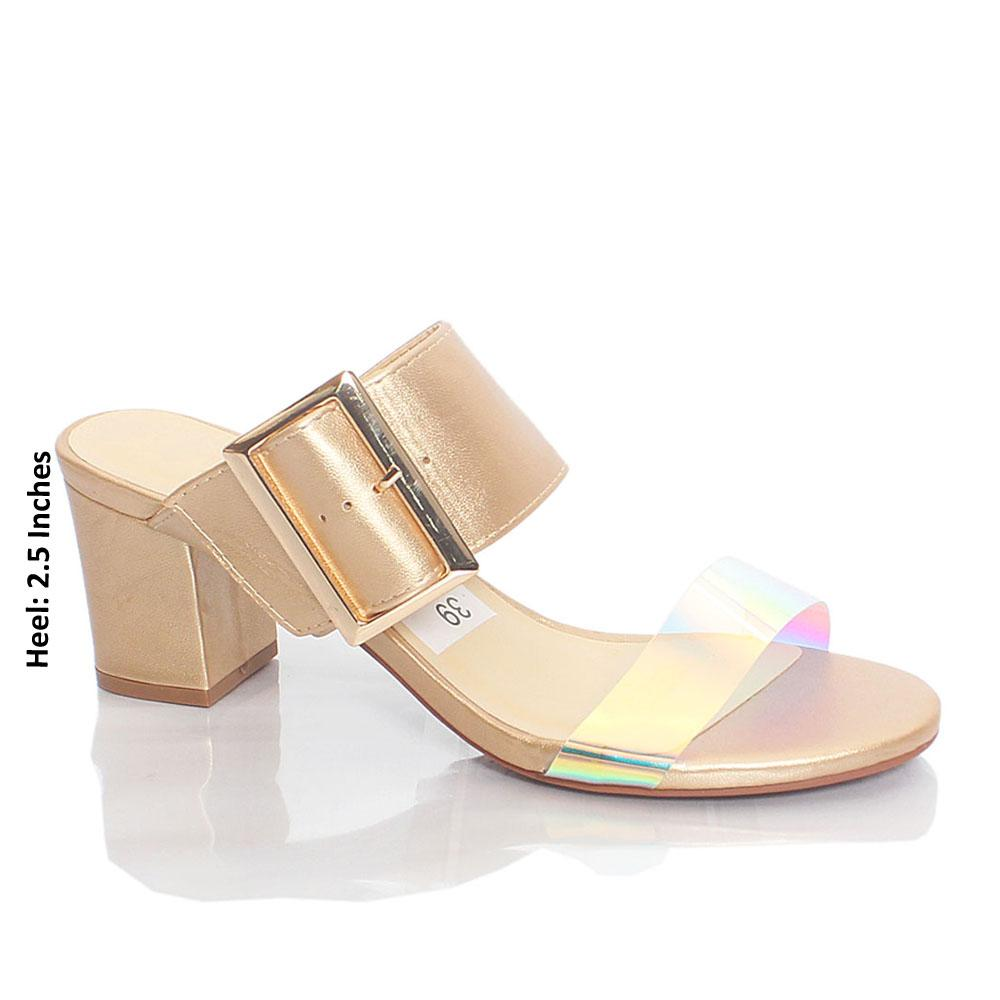 Gold Gasha Reflective Rubber Suede Leather Mule