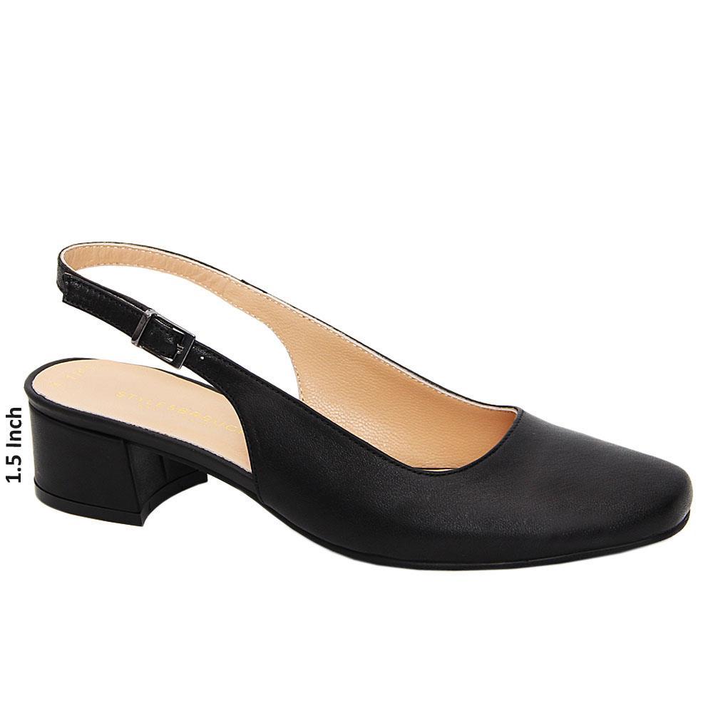 Black Lauren Tuscany Leather Low Heel Slingback Pumps