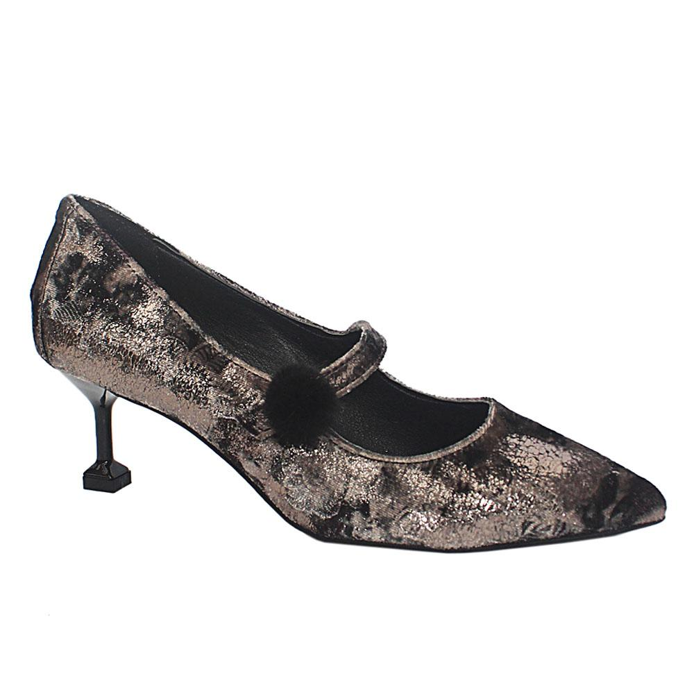 Metallic Gray Mix Corduroy Fabric Leather Heel Shoes