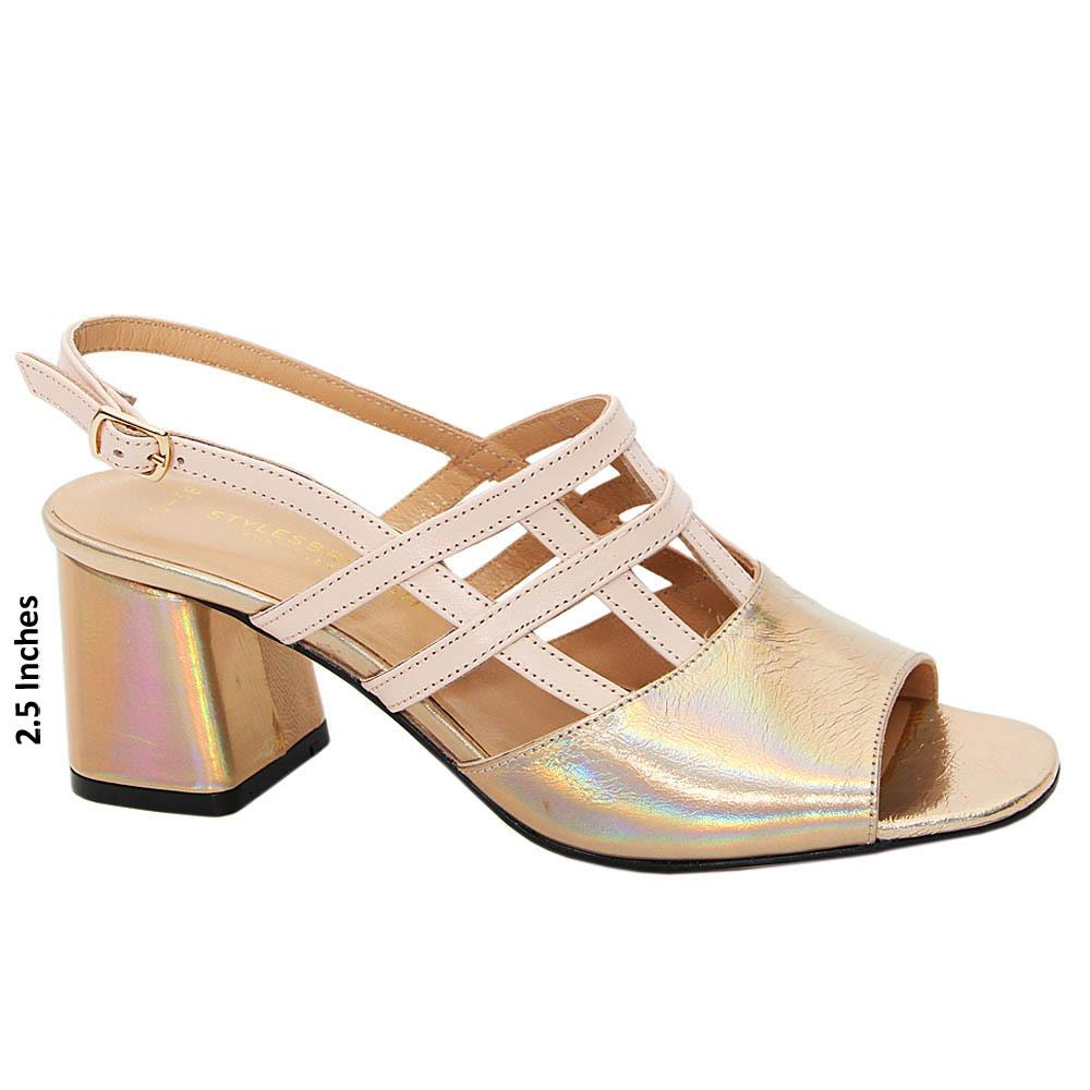 Gold Noemi Patent Tuscany Leather Mid Heel Sandals