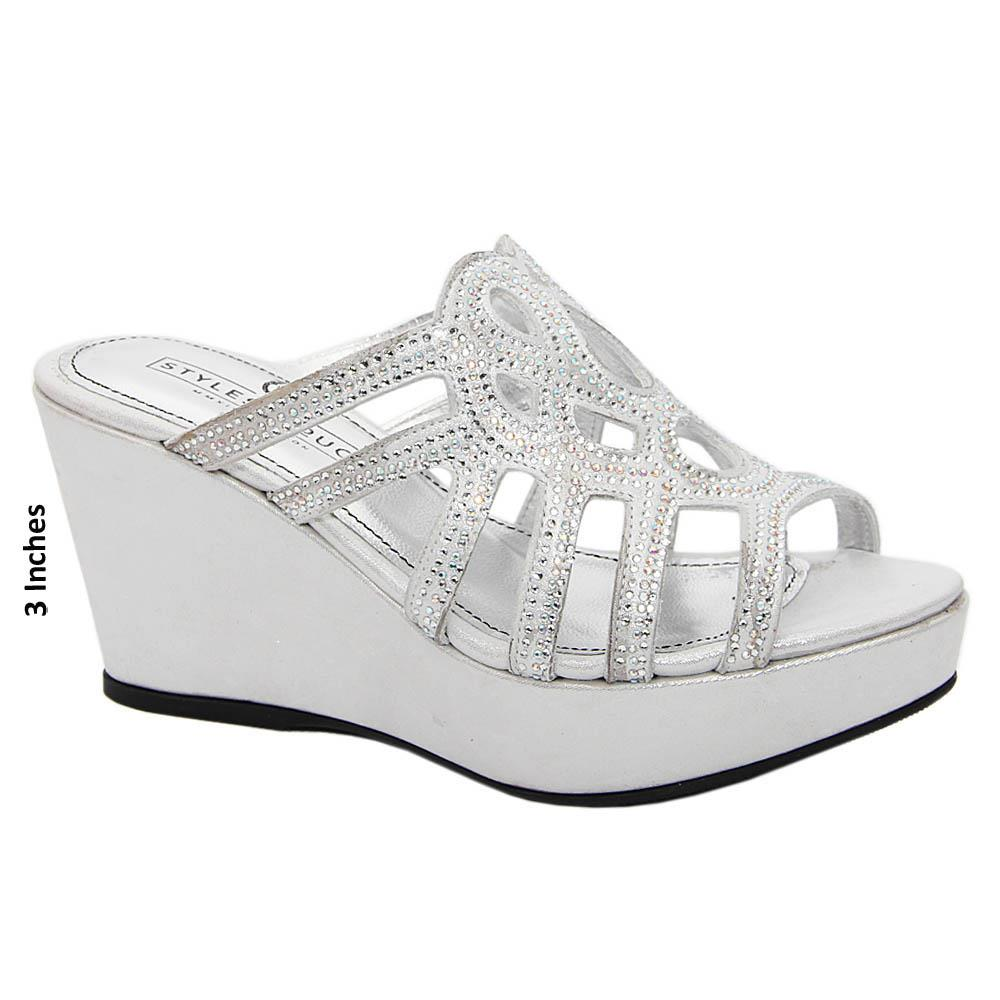 Silver Luciana Studded Italian Satin Leather Wedge
