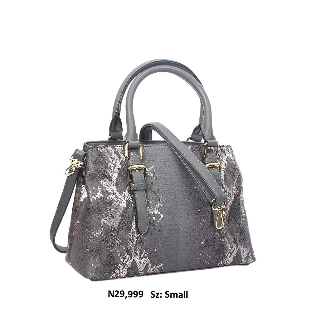 Gray Paola Snakeskin Style Leather Tote Handbag