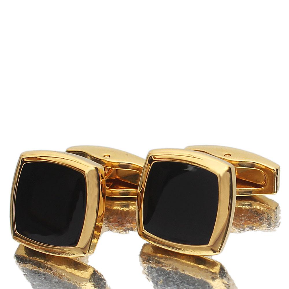 Gold Black Square Ceramic Stainless Steel Cufflinks