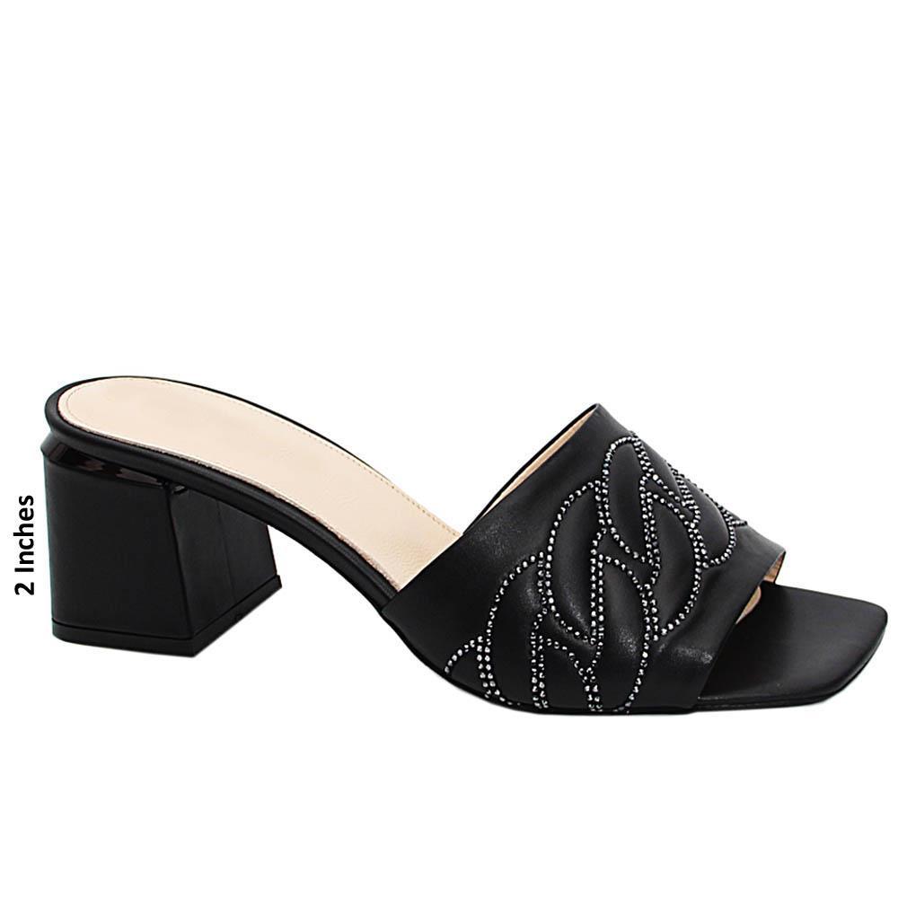 Black Natasha Studded Italian Leather Mid Heel Mule