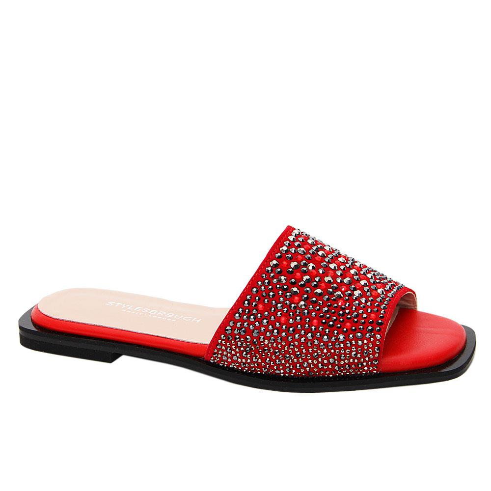 Red Jasmine Studded Tuscany Leather Women Flat Slippers