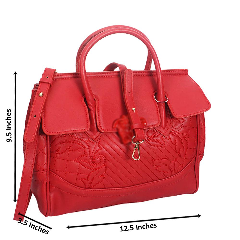 Veda Red Threaded Montana Leather Tote HandBag