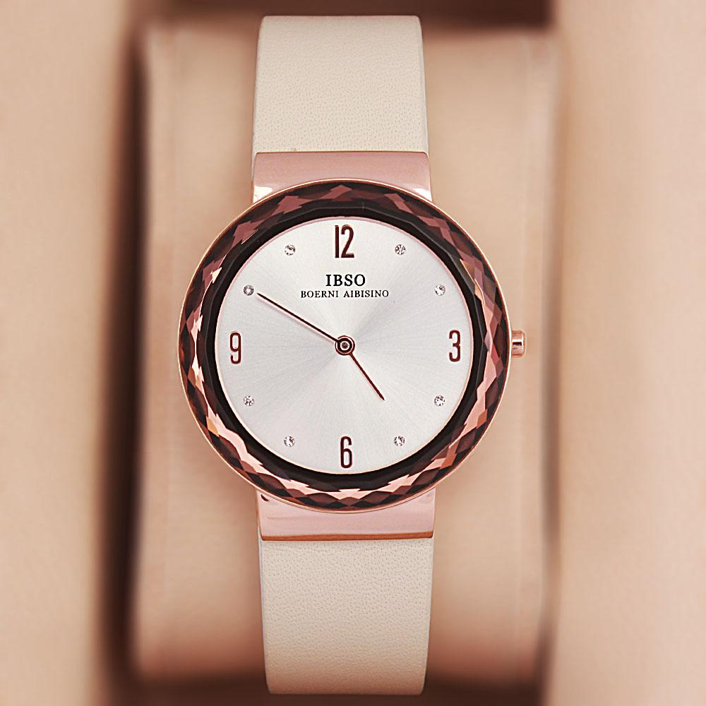 OldSkul Cream Leather Ladies Flat Watch