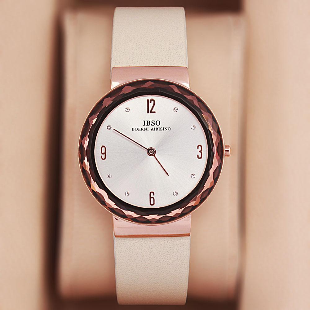 OldSkul Cream Leather Ladies Flat Watch