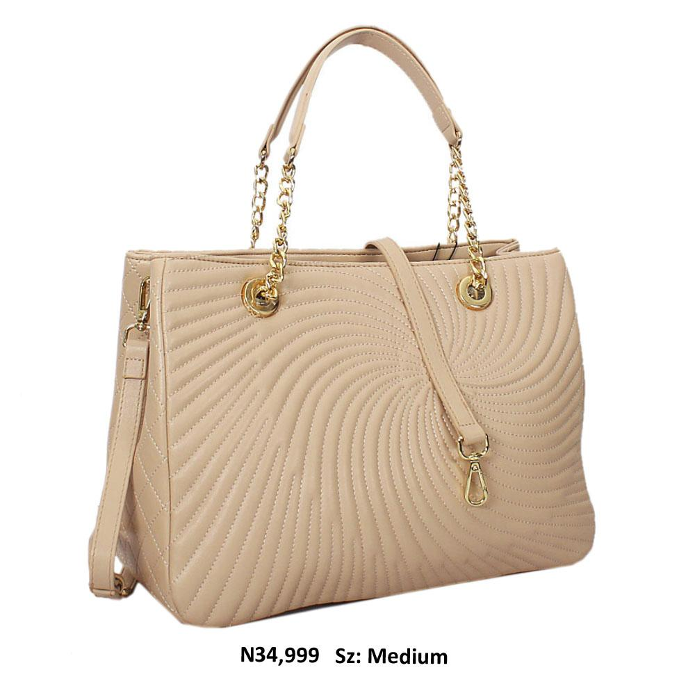 Beige Martina Threaded Style Soft Leather Tote Handbag