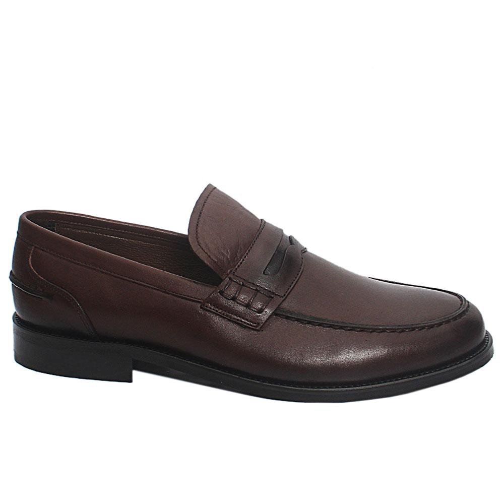 Coffee Kensley Leather Penny Loafers