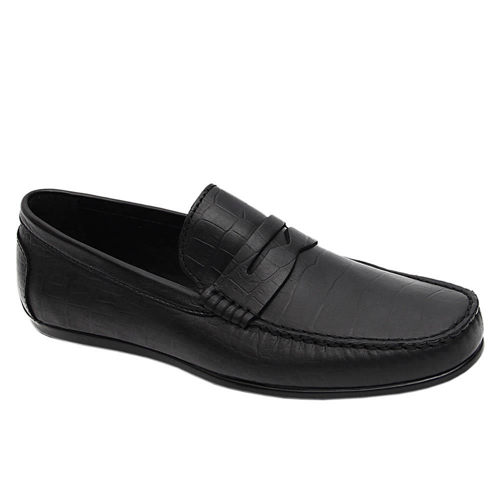 Black Edomondo Italian Leather Drivers Shoe