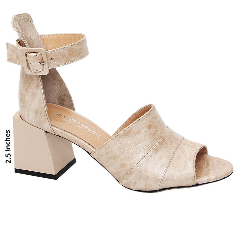 Cream Jimena Patent Tuscany Leather Block Heel Sandals