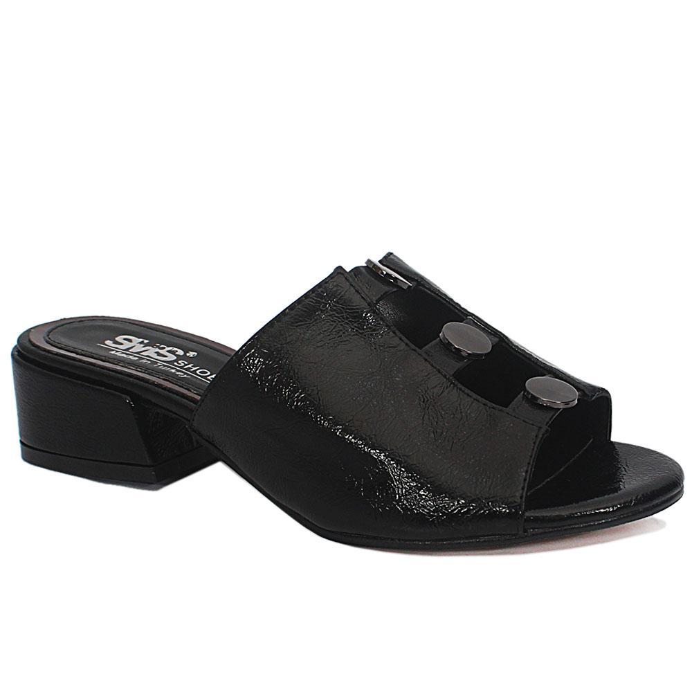 Sz 37 Eldora Black Open Toe Leather Low Heel Ladies Slippers