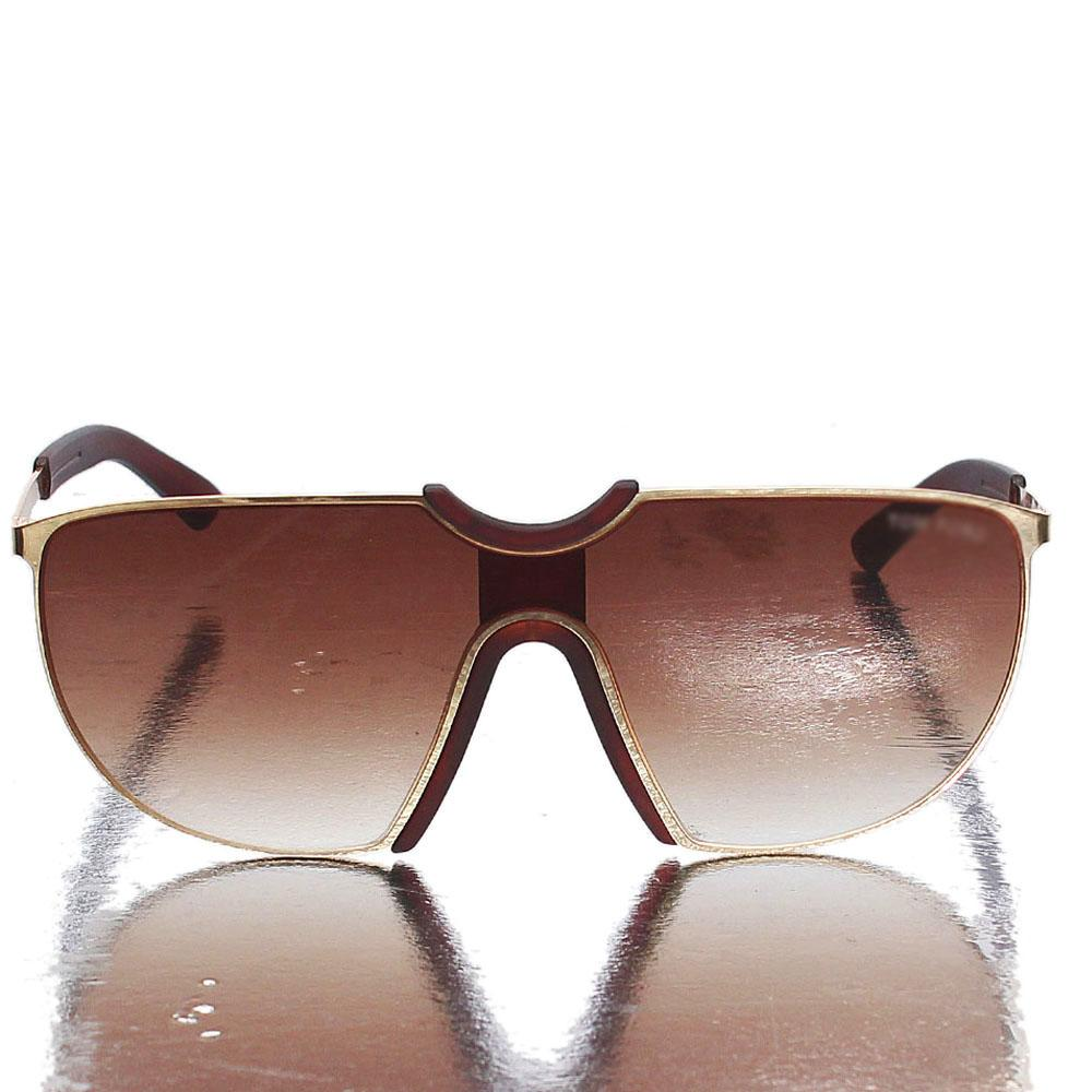 Gold Brown Sheild Sunglasses