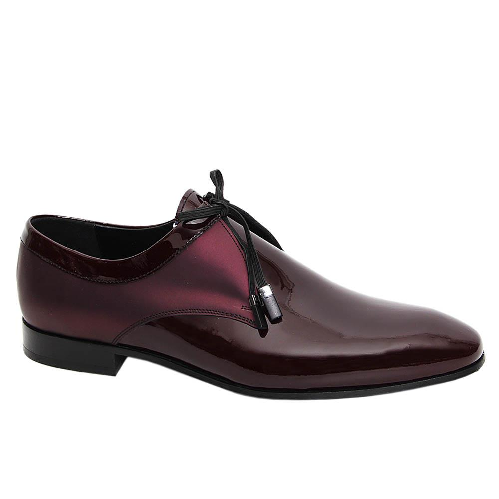 Burgundy Santiago Mix Patent Italian Leather Derby Shoe