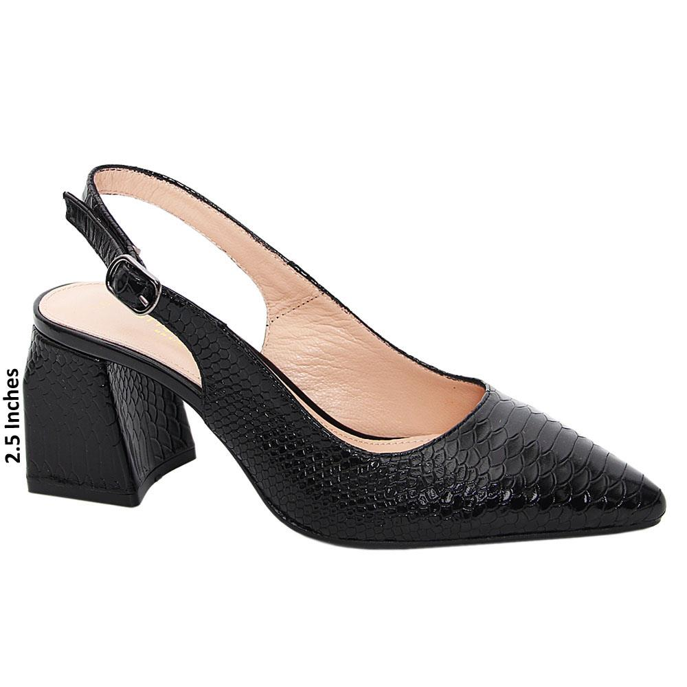 Black Genoa Tuscany Leather Mid Heel Slingback Pumps