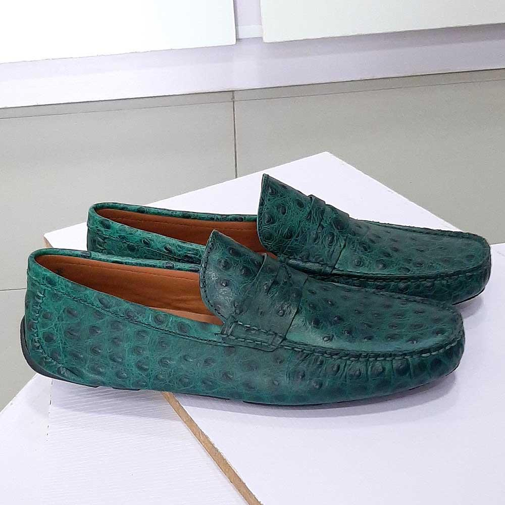 Green Ronaldo Peafowl Italian Leather Drivers Shoe