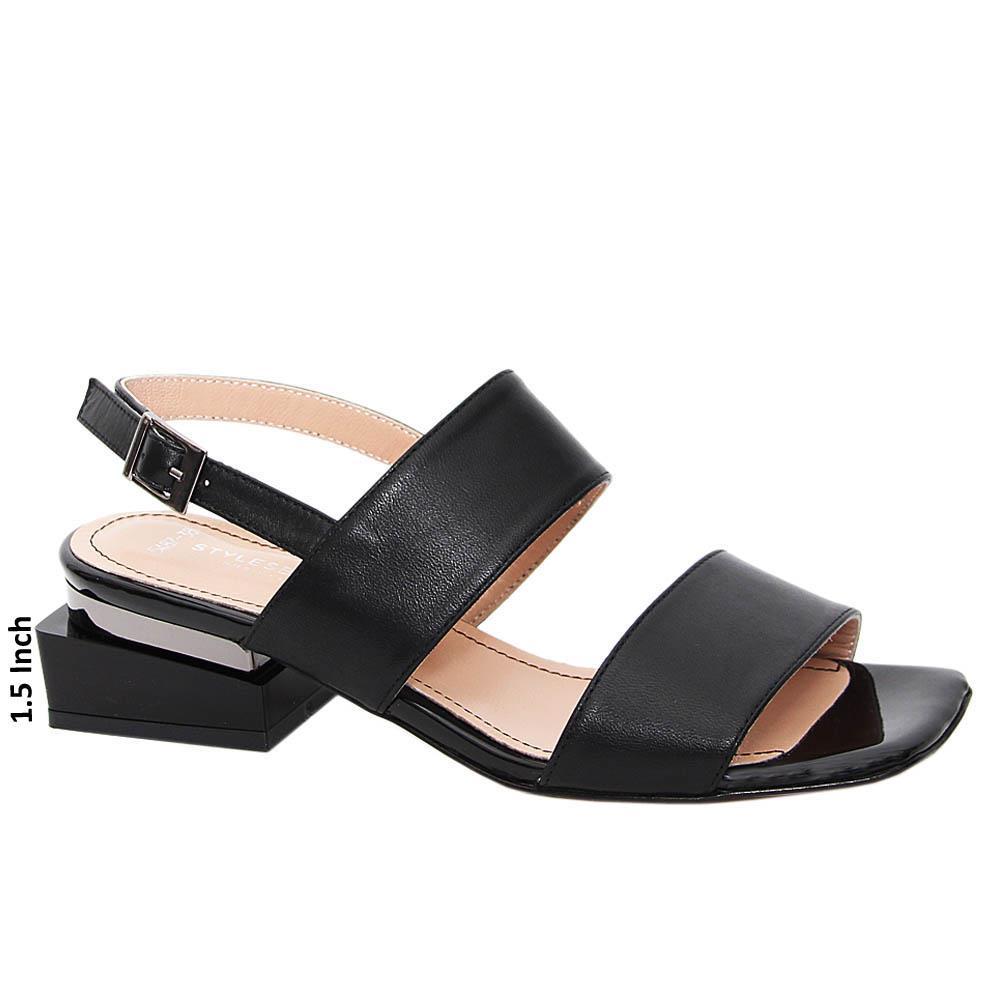 Black Juana Tuscany Leather Block Heel Sandals