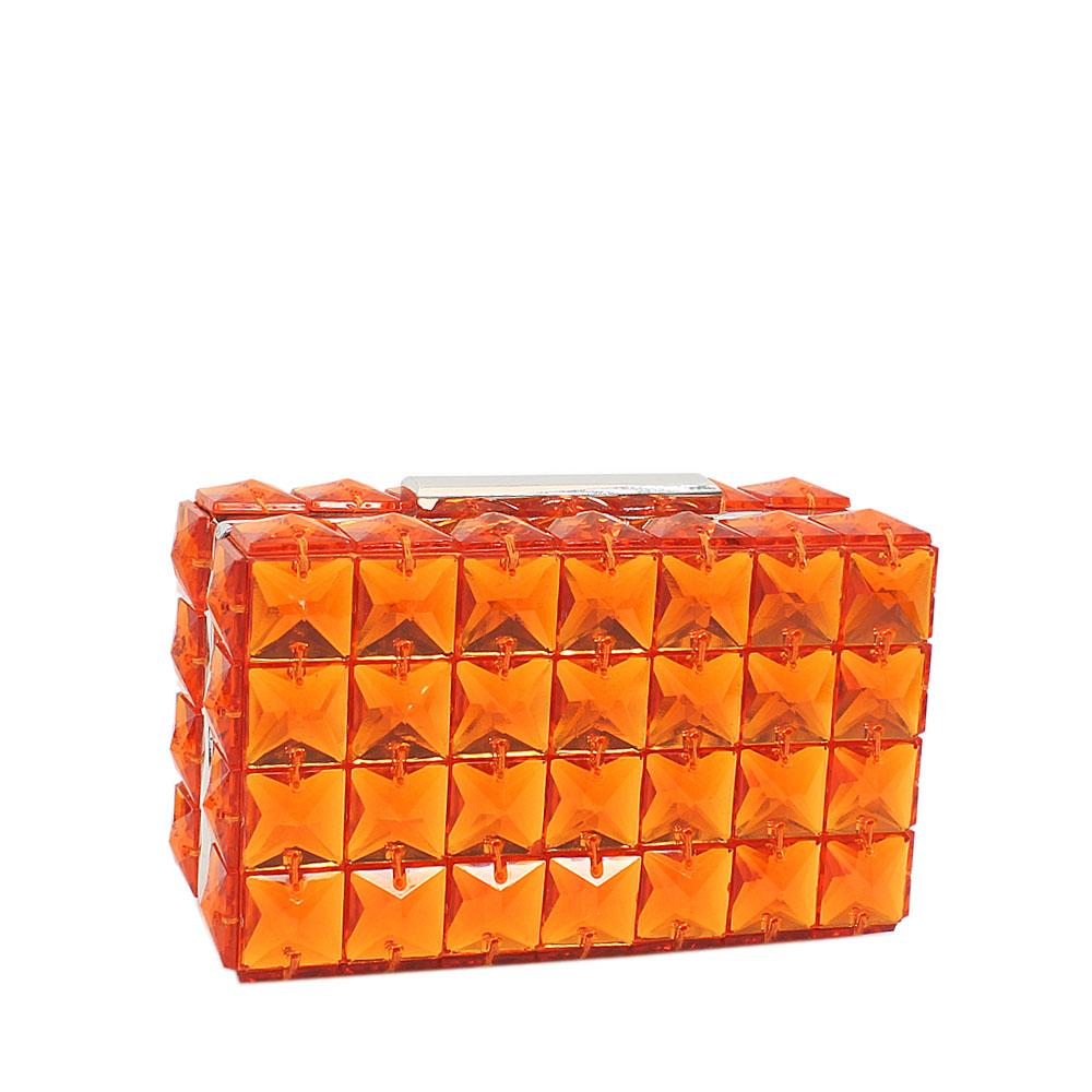 Orange Bebe Rose Ceramic Clutch Purse