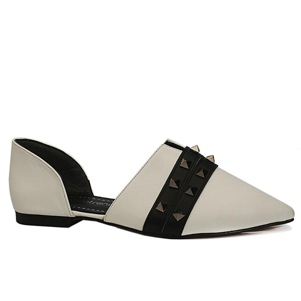 White Studded Leather Flat Shoes