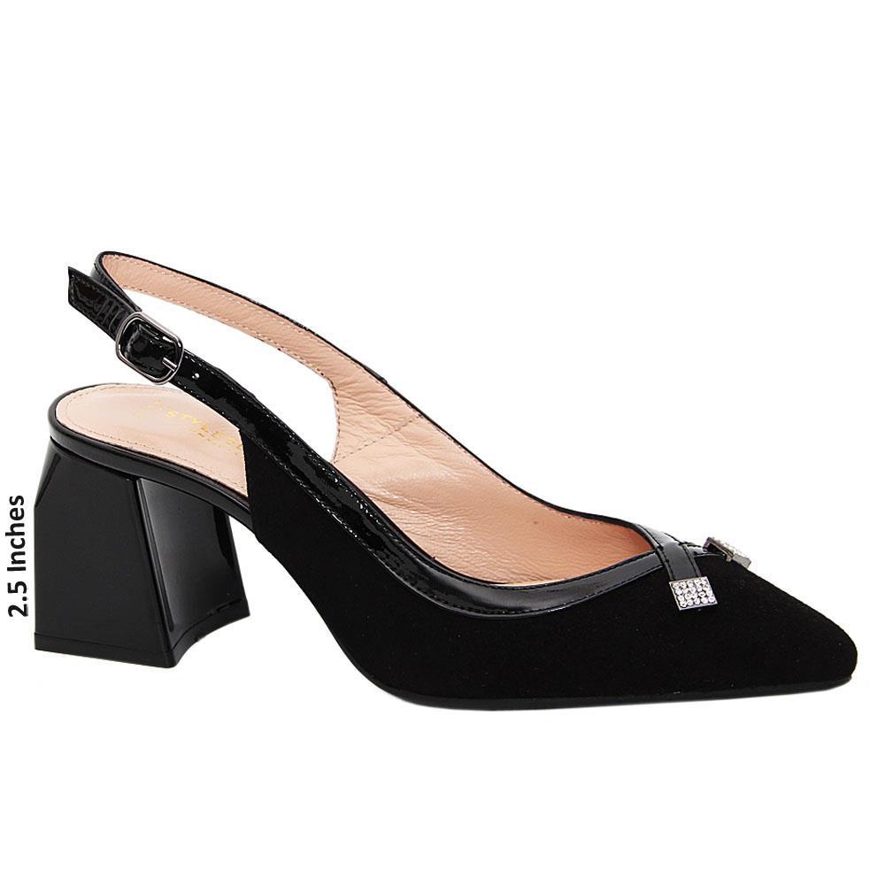 Black Layla Suede Tuscany Leather Mid Heel Slingback Pumps