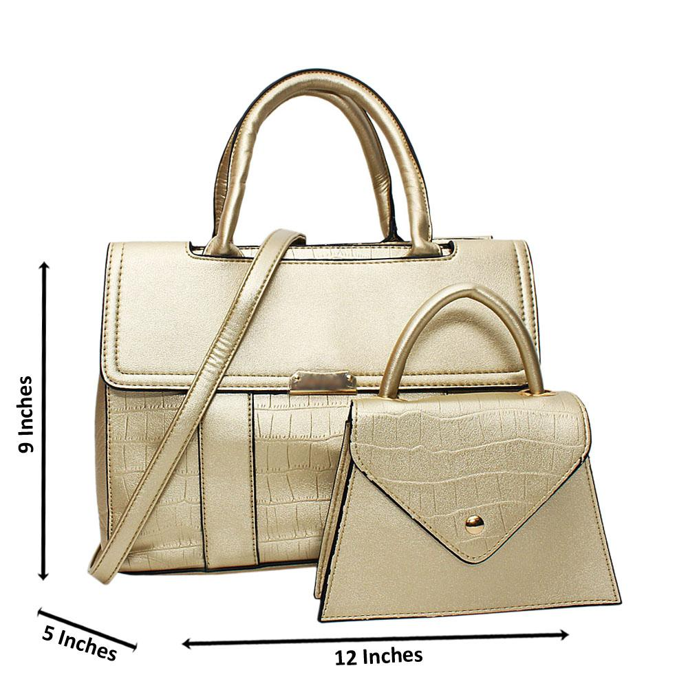 Gold Tara Croc Leather Medium 2 in 1 Tote Handbag