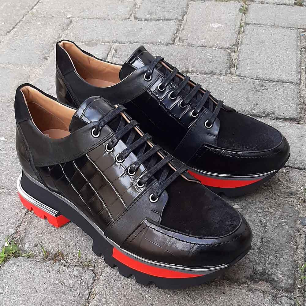 Black-Giorgio-Croco-Suede-Italian-Leather-Sneakers