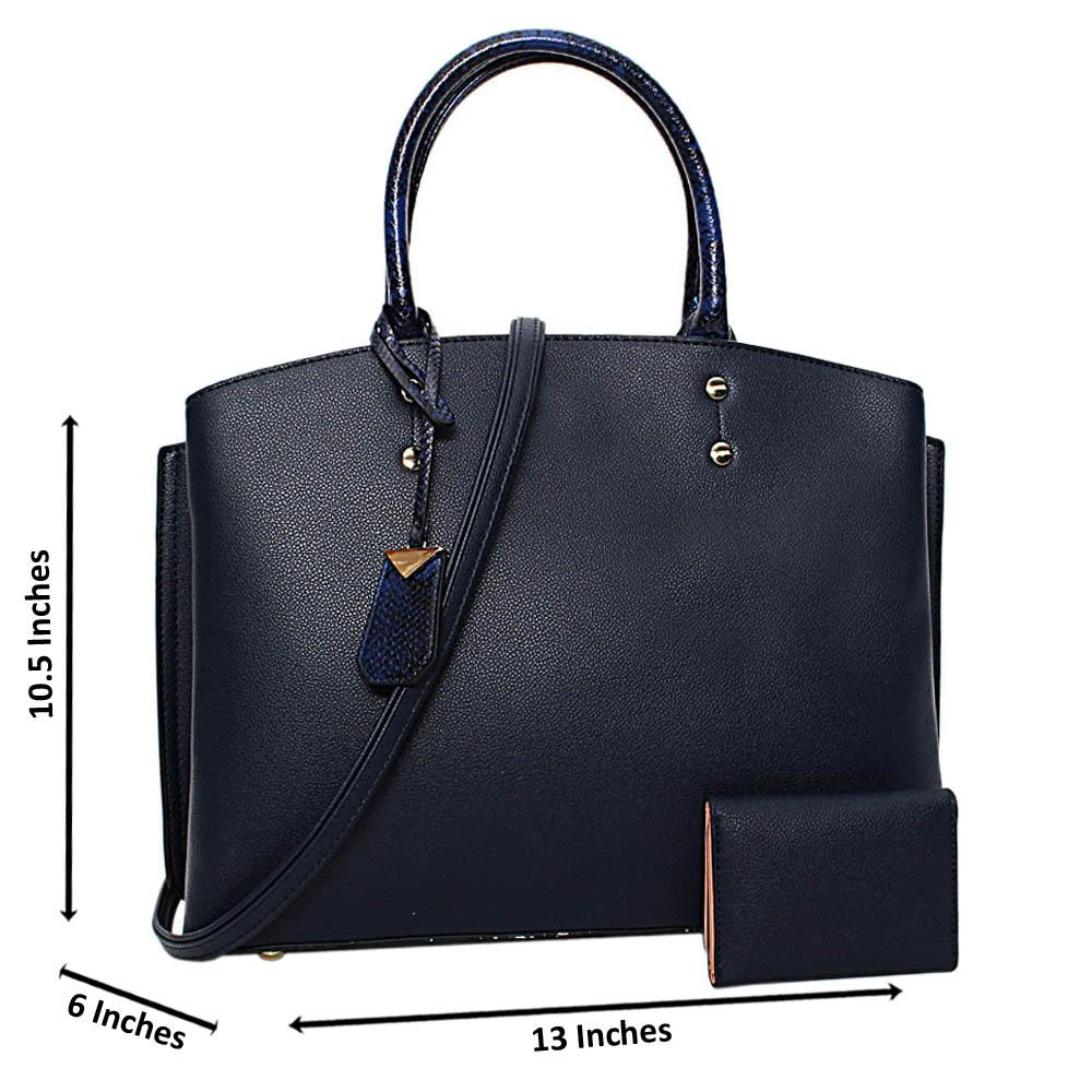 Navy Courtney Leather Medium Tote Handbag