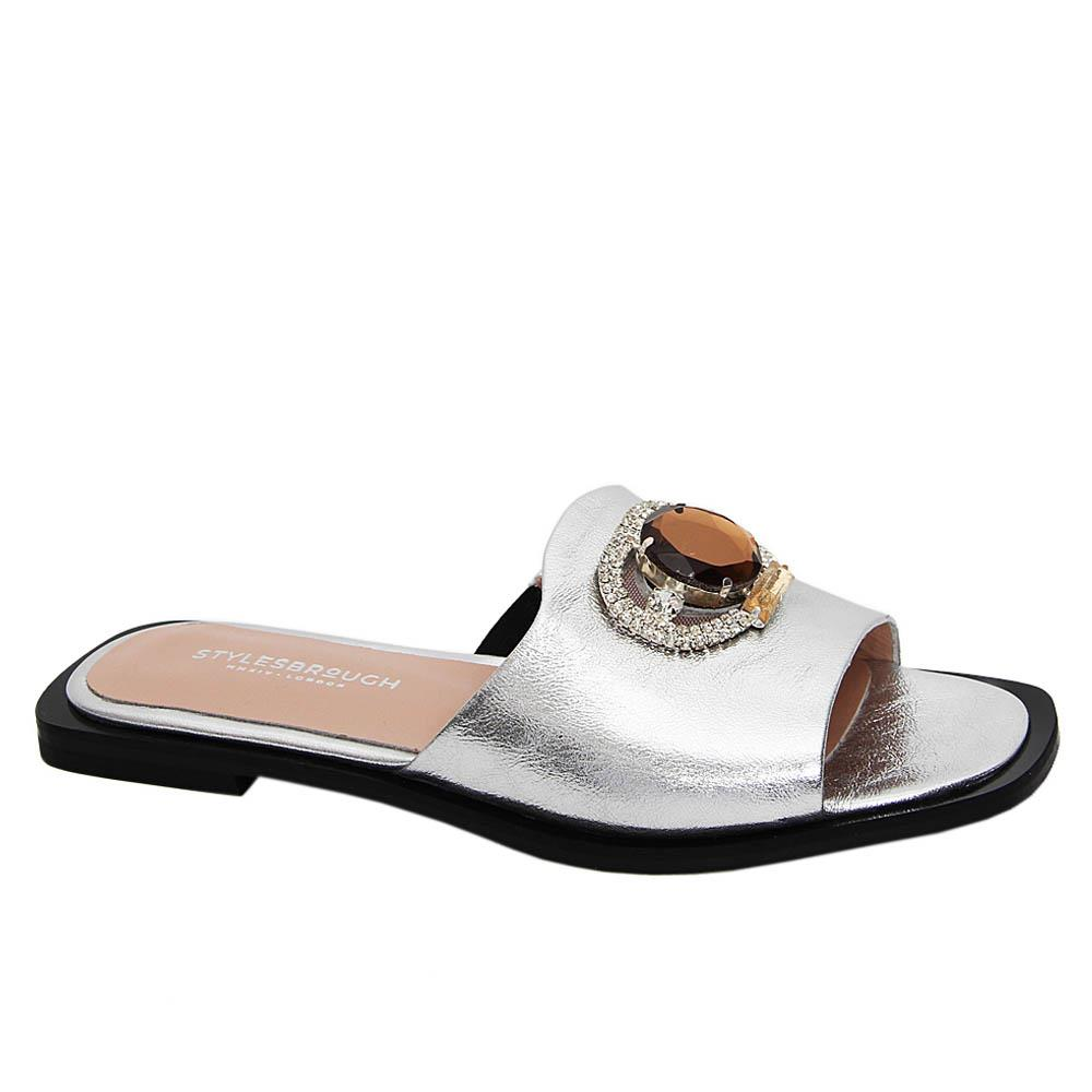 Silver Aretha Shinny Tuscany Leather Women Flat Slippers