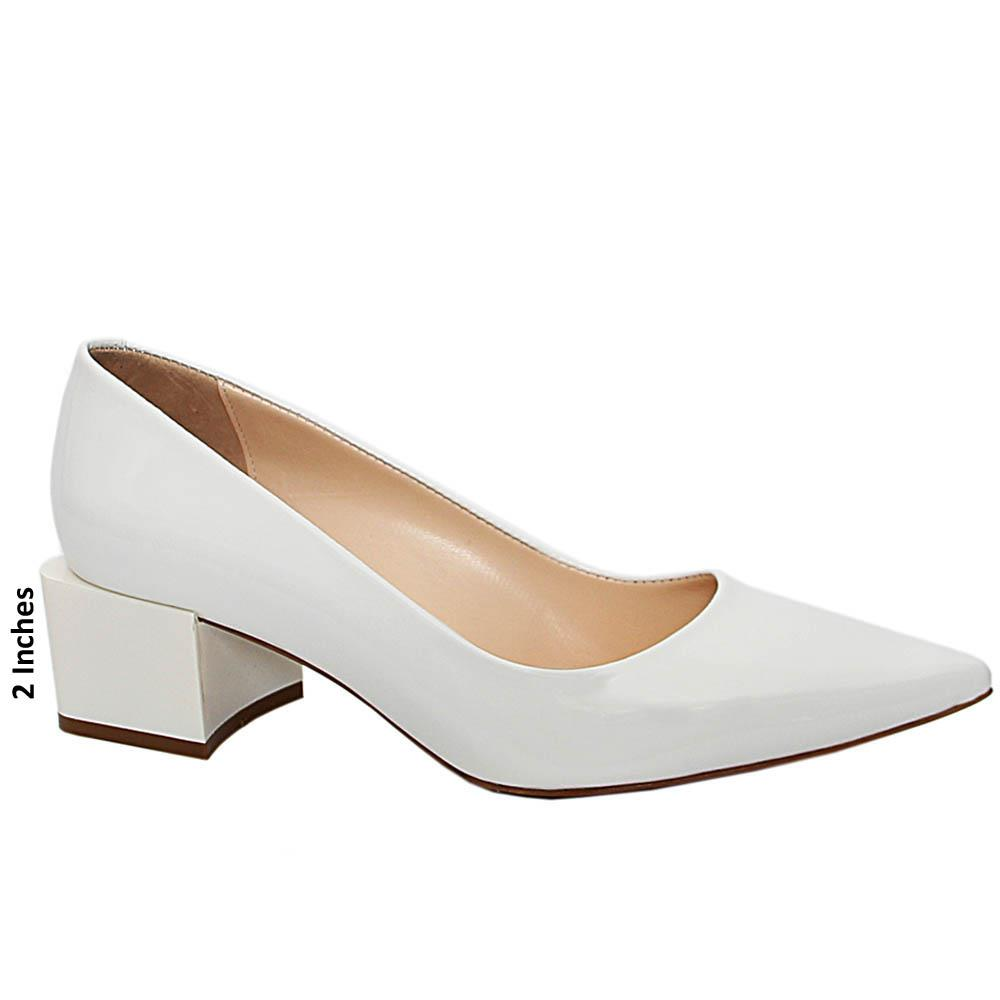 White Arabella Patent Italian Leather Mid Heels Pumps