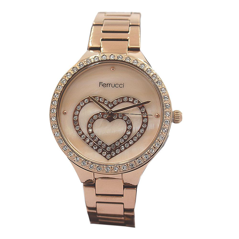 Ferrucci Love Face Studded Rose Gold Vintage Ladies Watch