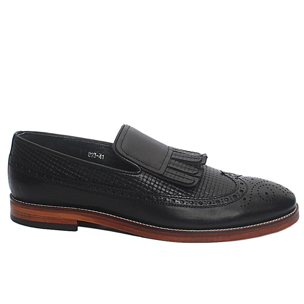 Black Kendrick Fringe Woven Style Leather Loafers