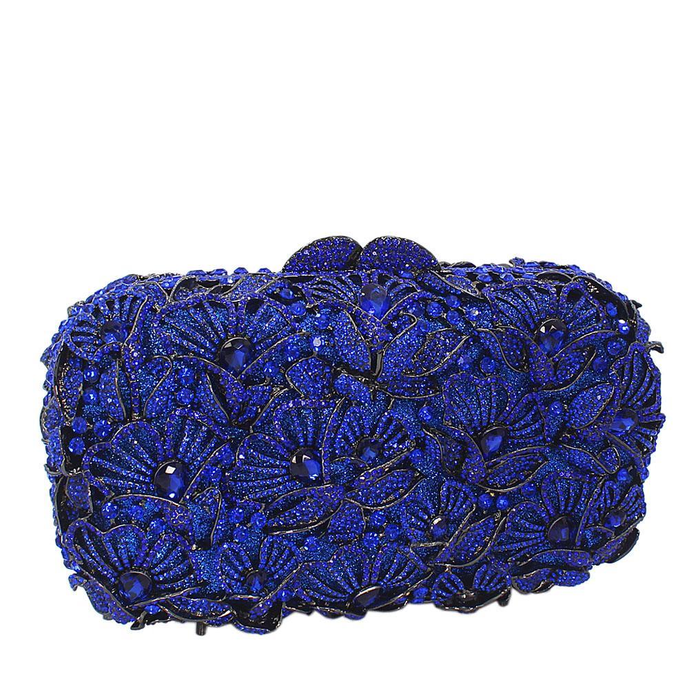 Blue Flora Diamante Crystals Clutch Purse