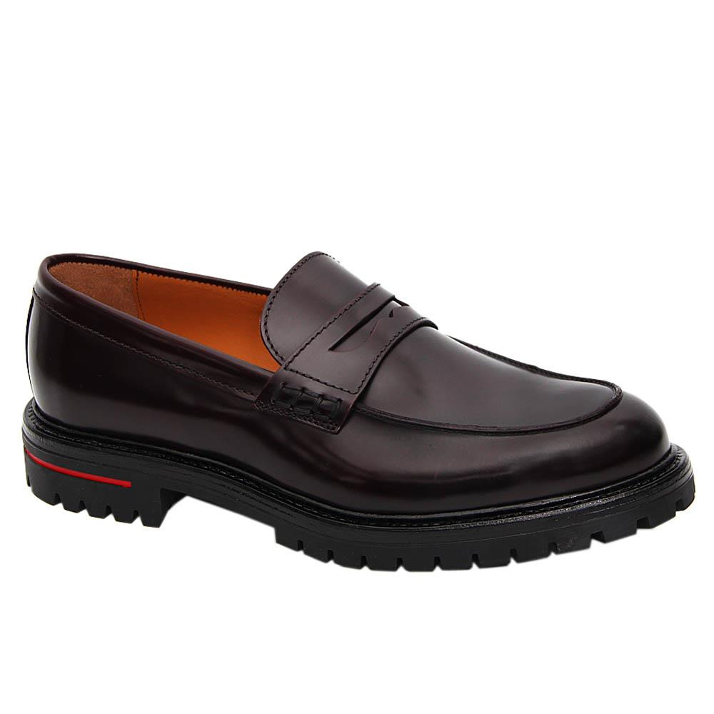 K Geiger Coffee Leo Harvey Leather Penny Loafers
