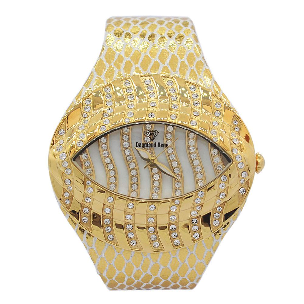 Gold Studded Leather Ladies Watch