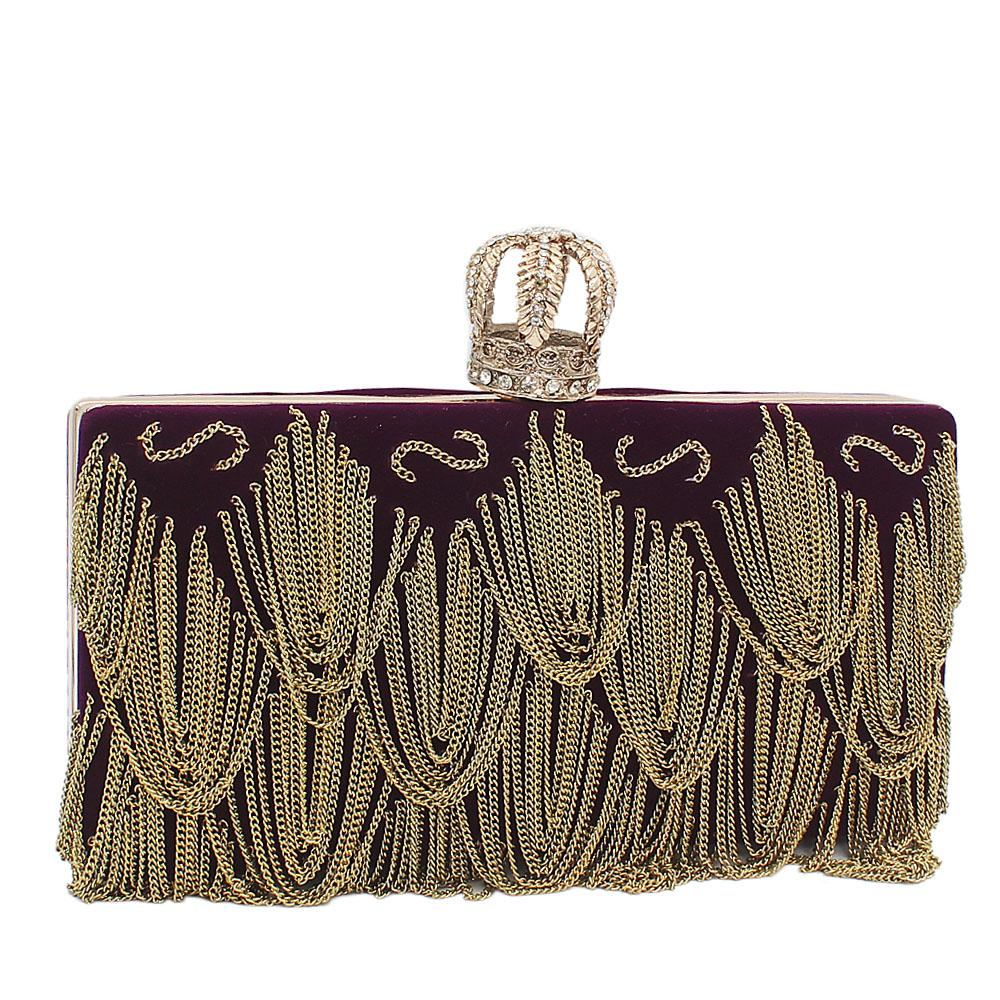 Purple Crown Suede Fabric Clutch Purse
