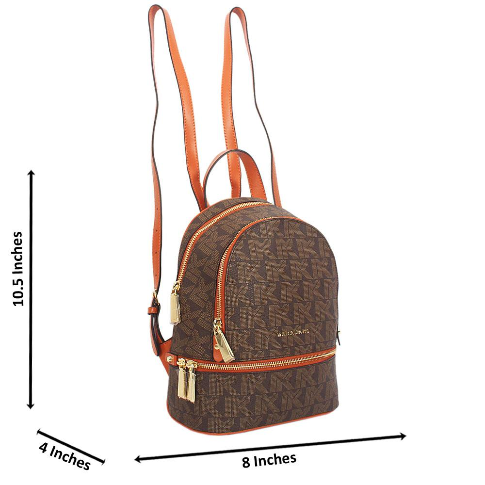 Brown Print Jemma Leather Small Backpack