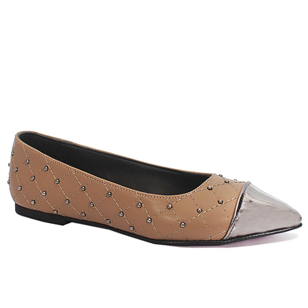 Khaki Studded Leather Pointed Toe Flat Shoe
