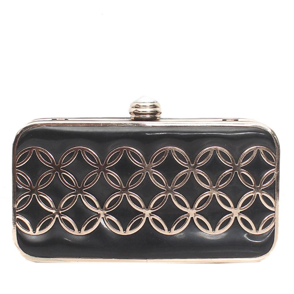 Gold Black Leather Hard Clutch Purse
